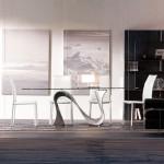 Tavolo Wave di Tonin Casa in vetro temperato allungabile o fisso