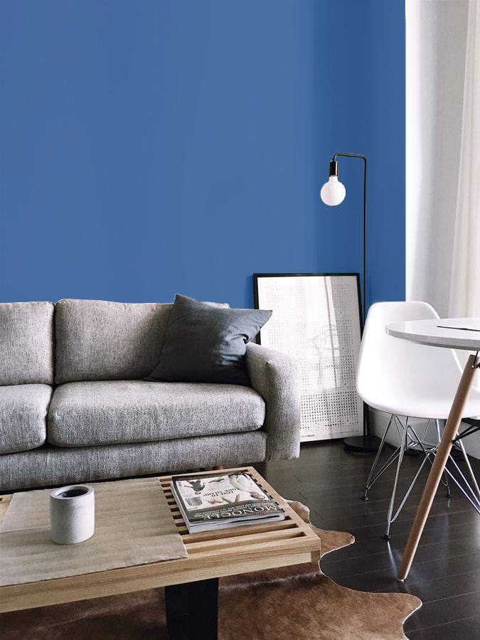 stanza con parete classic blue